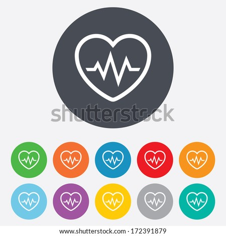 Heartbeat sign icon. Cardiogram symbol. Round colourful 11 buttons. Vector - stock vector