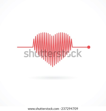 Heartbeat with Heart Shape - Valentine Heart Symbol - stock vector