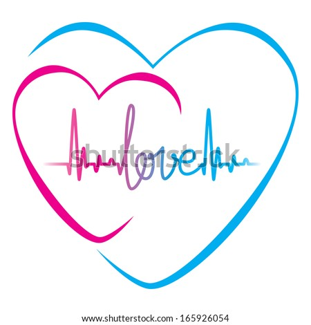 Heartbeat Love Text Heart Symbol Vector Stock Vector Hd Royalty