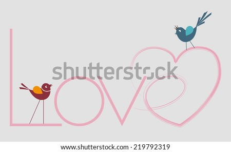 hearted love writing and birds - stock vector