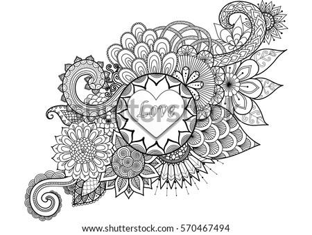 hearted shape word love on floral stock vector 570467494 shutterstock. Black Bedroom Furniture Sets. Home Design Ideas