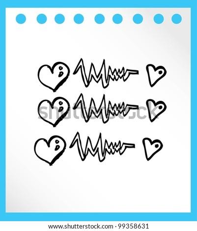 hearth pulse line medical  hand drawn - vector illustration - stock vector