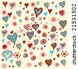 hearts and flowers. Click on my name below to see a huge collection of doodles. - stock vector