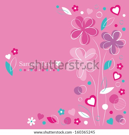 hearts and flowers greeting card on pink background - stock vector