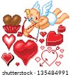 Hearts and Heart shapes of various styles and sizes, as well as a cupid, drawing his bow to take aim at an unsuspecting couple. There is even a chocolate heart in its wrapper! Rendered in pixel art. - stock vector