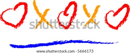Hearts and Kisses, XXOOO - stock vector