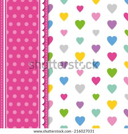 hearts and polka dot greeting card - stock vector
