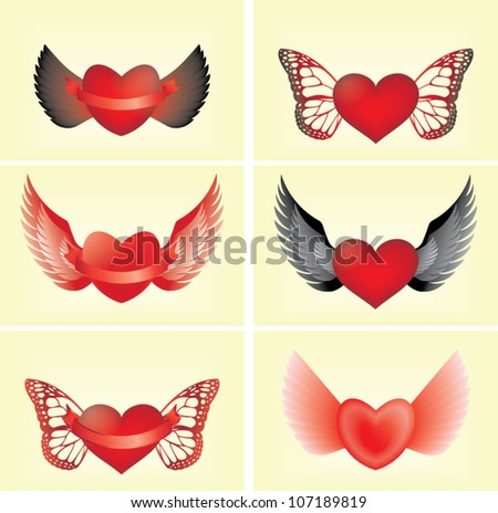 Hearts and wings - stock vector