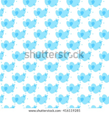hearts background blue - stock vector