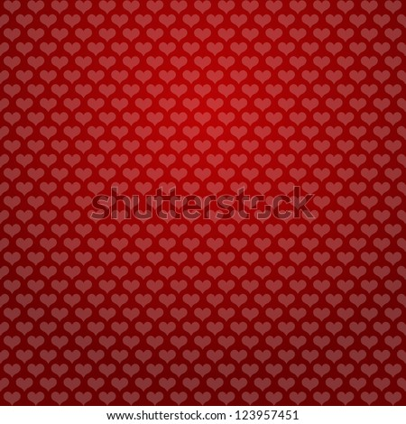 hearts background red - stock vector