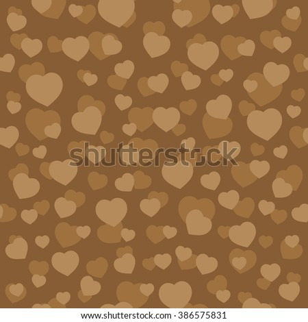 Hearts Coffee Color Vector Seamless Pattern