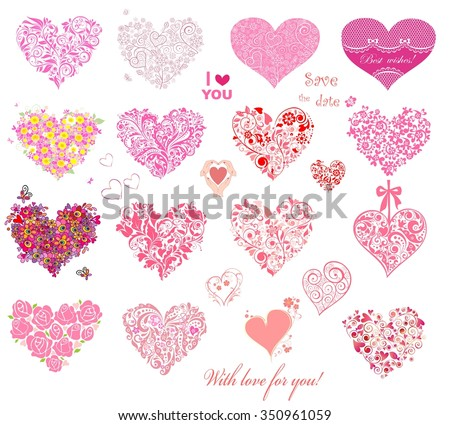 Hearts collection - stock vector