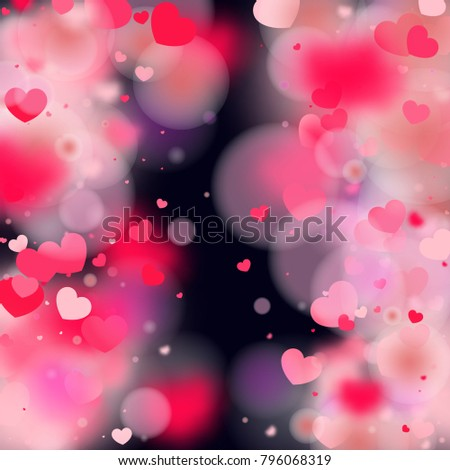 Hearts Falling Background St Valentines Day Stock Vector ...
