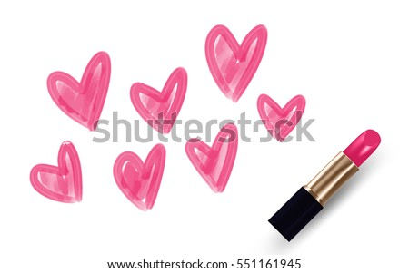 Hearts drawing by Lipstick pink color isolated on white background, with copy space