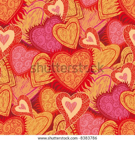 hearts folk pattern in engrave style. Select all the art and drop it into your swatches palette to create an Adobe Illustrator pattern. - stock vector