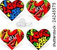 hearts 14. graffiti love - stock vector