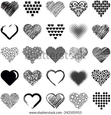 Hearts icon collection - vector illustration  - stock vector