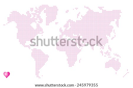 hearts in the form of world map (the world in love) - stock vector