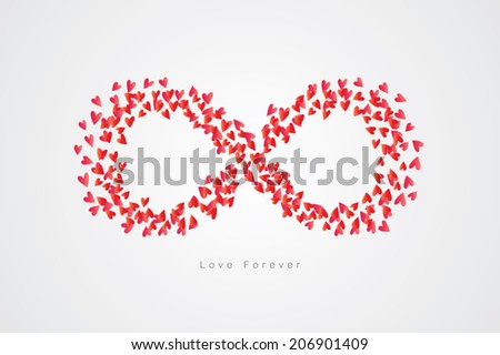 Hearts infinity shape vector with massage love forever. - stock vector