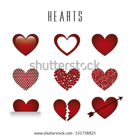 hearts isolated over white background. vector illustration - stock vector