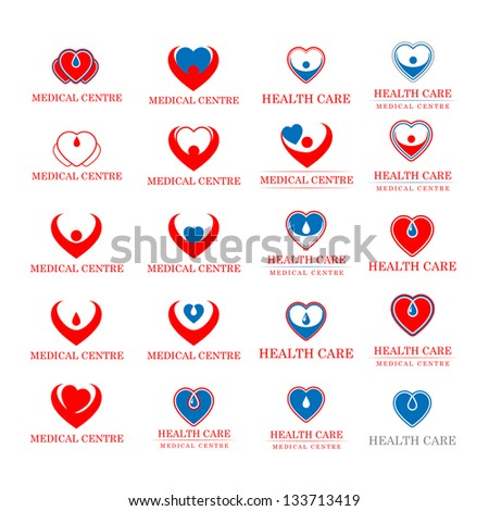 Hearts - Medical Icons Set - Isolated On White Background - Vector illustration, Graphic Design Editable For Your Design. Hearts Logo - stock vector