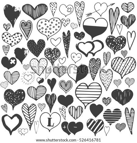 Hearts monochrome valentines day celebration doodle drawing big set.