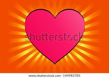 Hearts On Sunburst Background, Vector - stock vector