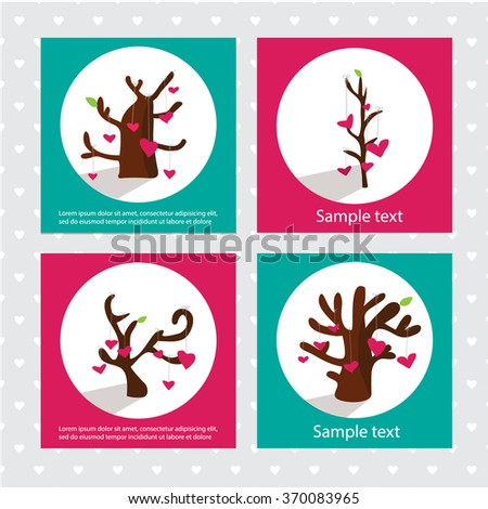 Hearts on the tree. Valentines background - stock vector