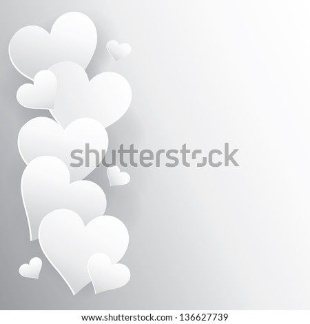 hearts on white paper with shadow - stock vector