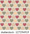 Hearts paintbrush drawn seamless pattern. Love vintage background. - stock vector