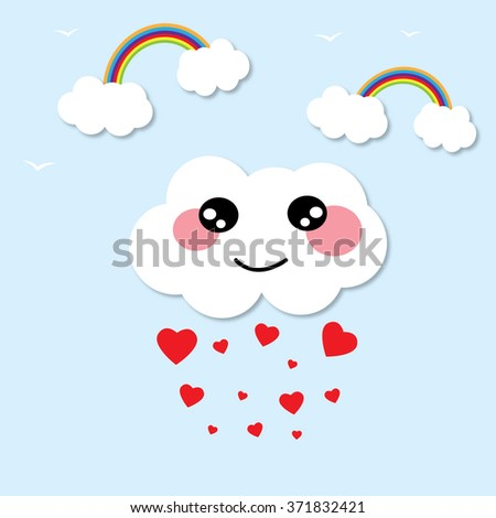 hearts rain and cute smiling clouds - stock vector