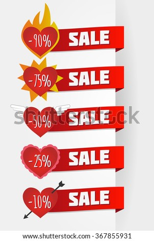 Hearts sale love set with ribbons fire and arrow for saint valentines day