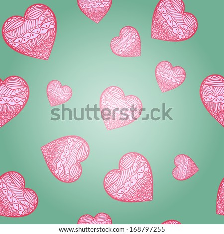 Hearts seamless green background. St Valentine's day