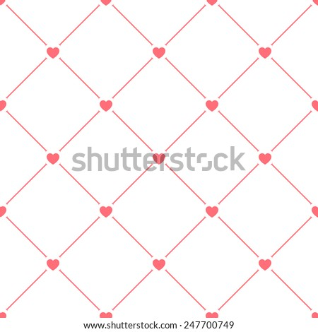 Hearts seamless pattern on white. Valentine's Day texture