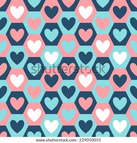 Hearts seamless vector pattern on geometrical hexagon background. Valentine's Day backdrop.
