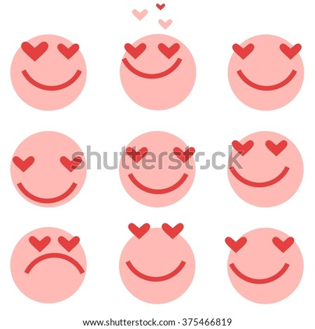 Hearts. Set of  icons. Vector. Person / smiles / angry. Vector illustration. - stock vector