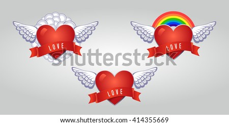 Hearts set vector. Heart icon. Heart background. Heart collection. Gay pride. Gay love. Gay rainbow. Heart gay. Heart concept. Heart symbol. Heart homosexual. Heart red. Heart isolated. Heart 3D - stock vector