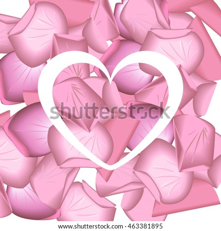 hearts silhouette with petals