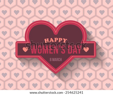 Hearts Symbols Happy Women's Day Greeting Card, Announcement Background - stock vector