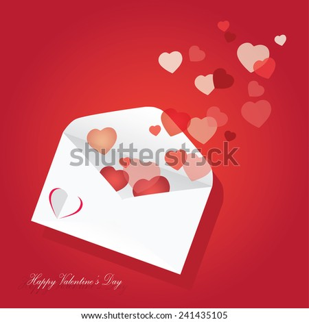 Hearts take off from inside open envelope - stock vector