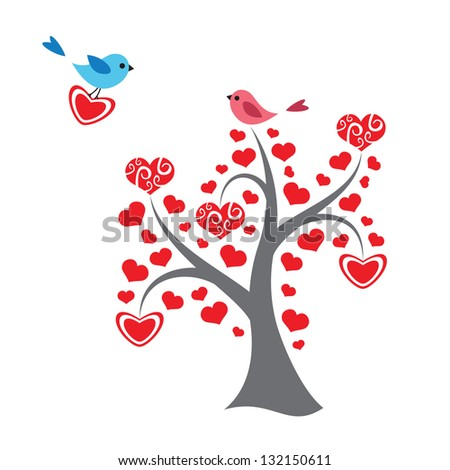Hearts tree and birds in love