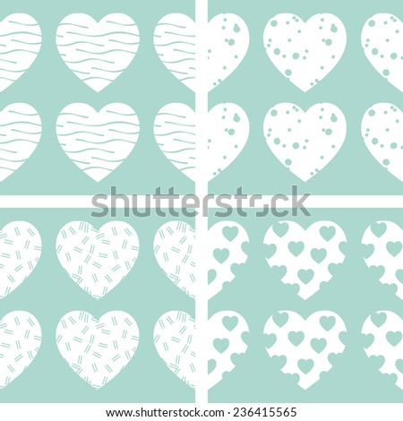 Hearts vector seamless patterns. Endless texture can be used for wallpaper, pattern fills, web page background, surface textures, fabrics. Set of hearts backgrounds. - stock vector