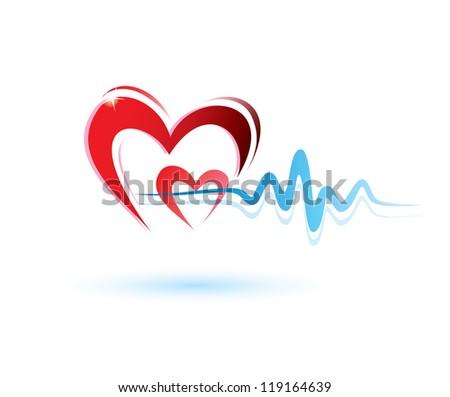 hearts with ecg icon, medicine concept - stock vector