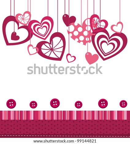 hearts  with pink cute frame over white background. vector - stock vector