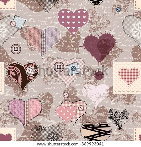 Hearts with the grunge effects in scrapbook style. Seamless pattern. - stock vector