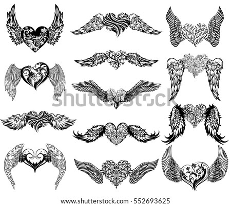 Heart with wings stock images royalty free images vectors hearts with wings set for tattoo or mascot design urmus Gallery