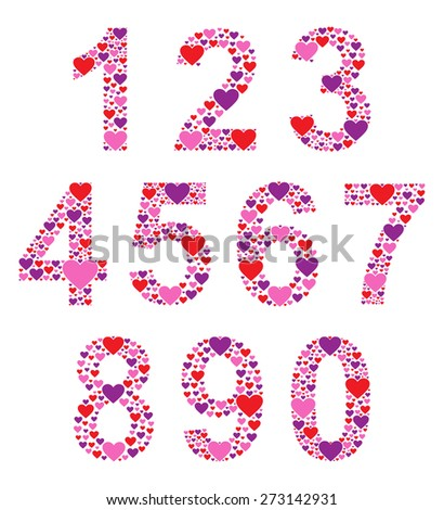 Hearty Numbers - stock vector