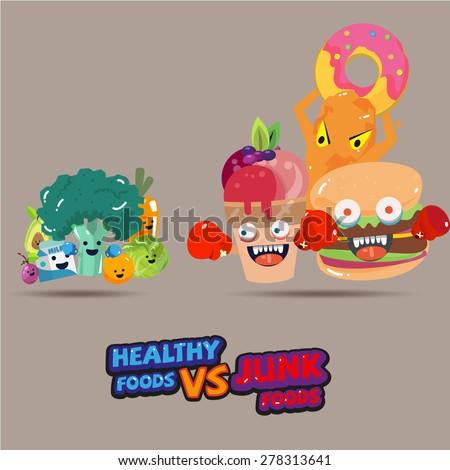 heathy food  versus  junk food. character design choice of a healthy or unhealthy food. typographic design. cartoon style - vector illustrattion - stock vector