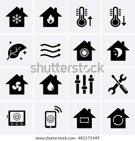heating cooling icon. heating and cooling icons. hvac (heating, ventilating, air conditioning) technology icon l