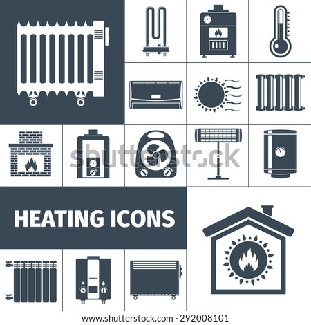 Heating devices boiler radiator fireplace warm home flat black silhouette decorative icon set isolated vector illustration - stock vector